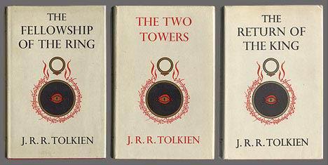 כריכת המהדורה הראשונה של שלושת כרכי שר הטבעות