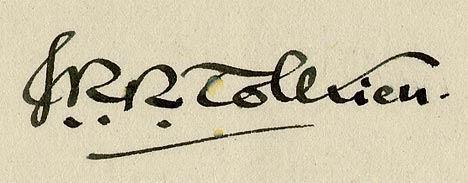 חתימתו של ג׳.ר.ר טולקין